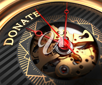 Donate on Black-Golden Watch Face with Watch Mechanism. Full Frame Closeup.