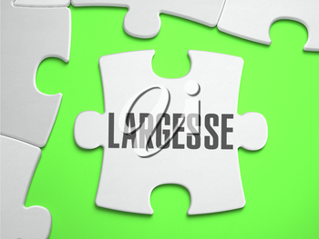Largesse - Jigsaw Puzzle with Missing Pieces. Bright Green Background. Close-up. 3d Illustration.