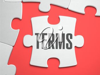 Terms - Text on Puzzle on the Place of Missing Pieces. Scarlett Background. Close-up. 3d Illustration.
