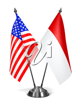 USA and Monaco - Miniature Flags Isolated on White Background.
