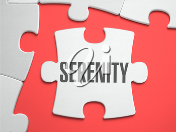 Serenity - Text on Puzzle on the Place of Missing Pieces. Scarlett Background. Close-up. 3d Illustration.