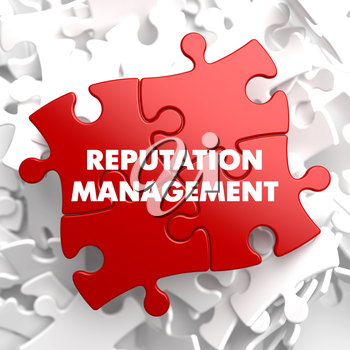 Reputation Management on Red Puzzle on White Background.