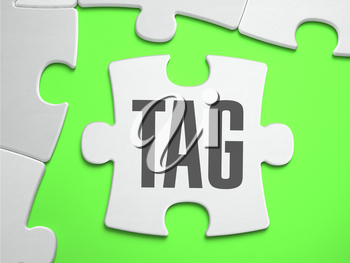 Tag - Jigsaw Puzzle with Missing Pieces. Bright Green Background. Close-up. 3d Illustration.