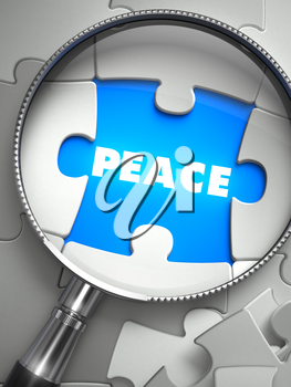 Peace through Lens on Missing Puzzle Peace. Selective Focus. 3D Render.