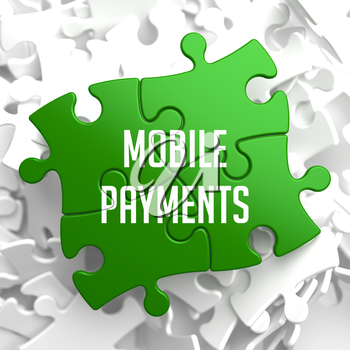 Mobile Payments on Green Puzzle on White Background.