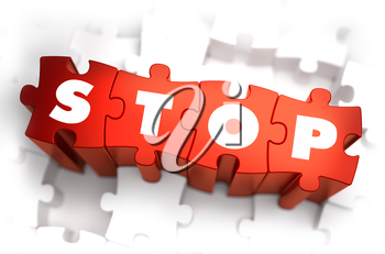 Stop - Text on Red Puzzles with White Background. 3D Render.