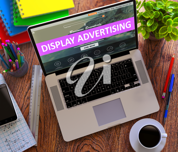 Display Advertising on Laptop Screen. Office Working Concept.