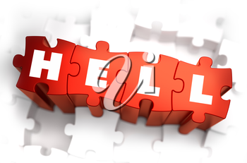Hell - Text on Red Puzzles with White Background. 3D Render.