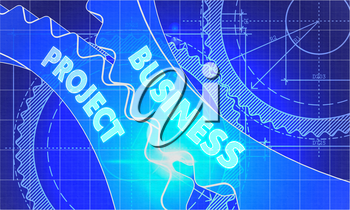 Business Project Concept. Blueprint Background with Gears. Industrial Design. 3d illustration, Lens Flare.