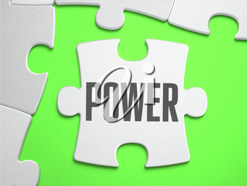 POWER - Jigsaw Puzzle with Missing Pieces. Bright Green Background. Close-up. 3d Illustration.