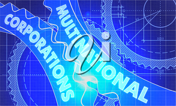 Multinational Corporations Concept. Blueprint Background with Gears. Industrial Design. 3d illustration, Lens Flare.