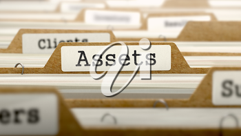 Assets Concept. Word on Folder Register of Card Index. Selective Focus.