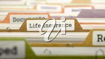 File Folder Labeled as Life Insurance in Multicolor Archive. Closeup View. Blurred Image.