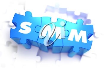 SMM - Text on Blue Puzzles on White Background. 3D Render.