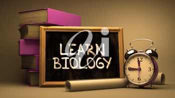 Learn Biology Handwritten by white Chalk on a Blackboard. Composition with Small Chalkboard and Stack of Books, Alarm Clock and Rolls of Paper on Blurred Background. Toned Image.