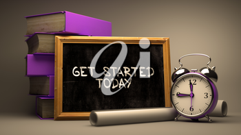 Get Started Today Concept Hand Drawn on Chalkboard. Blurred Background. Toned Image.