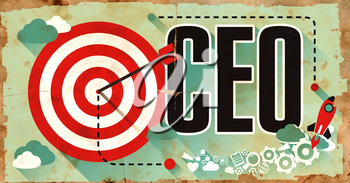 CEO Concept on Old Poster in Flat Design with Red Target, Rocket and Arrow. Business Concept.