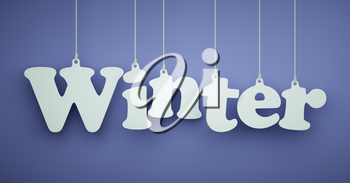 Winter - the Word of the White Letters Hanging on the Ropes on a Blue Background.