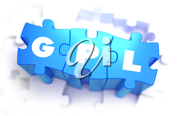 GPL - General Public License - White Word on Blue Puzzles on White Background. 3D Illustration.