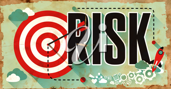 Risk Concept. Poster on Old Paper in Flat Design with Long Shadows.