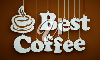 Best Coffee - the Word of the White Letters and Silhouette of Cup Hanging on the Ropes on a Brown Background.on the ropes on a brown background.