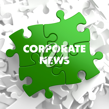 Corporate News on Green Puzzle on White Background.