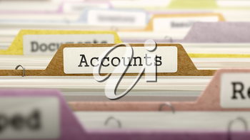 File Folder Labeled as Accounts in Multicolor Archive. Closeup View. Blurred Image.
