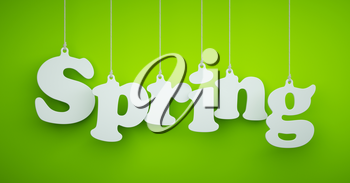 Spring - the Word of the White Letters Hanging on the Ropes on a Light Green Background.