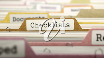 Checklists - Folder Register Name in Directory. Colored, Blurred Image. Closeup View.