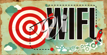 WiFi - Wireless Fidelity - Concept on Old Poster in Flat Design with Red Target, Rocket and Arrow. Business Concept.