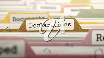 Declarations Concept on Folder Register in Multicolor Card Index. Closeup View. Selective Focus.