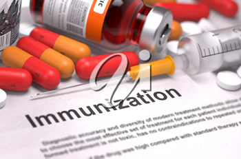Immunization - Printed Diagnosis with Red Pills, Injections and Syringe. Medical Concept with Selective Focus.