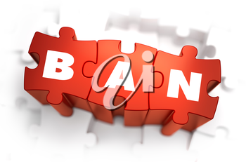 Ban - White Word on Red Puzzles on White Background. 3D Illustration.