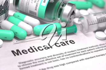 Medical Care - Printed with Mint Green Pills, Injections and Syringe. Concept with Selective Focus.
