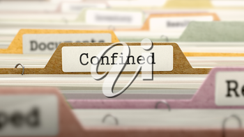 Confined Concept on Folder Register in Multicolor Card Index. Closeup View. Selective Focus.