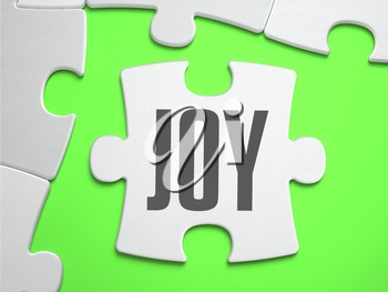 Joy - Jigsaw Puzzle with Missing Pieces. Bright Green Background. Close-up. 3d Illustration.