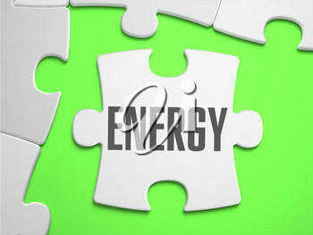 Energy - Jigsaw Puzzle with Missing Pieces. Bright Green Background. Close-up. 3d Illustration.