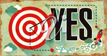 Yes Concept. Poster on Old Paper in Flat Design with Long Shadows.