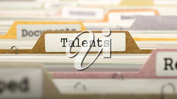 Talents Concept on File Label in Multicolor Card Index. Closeup View. Selective Focus.
