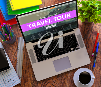 Travel Tour on Laptop Screen. Online Working Concept.