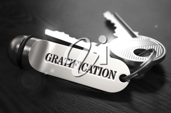 Gratification Concept. Keys with Keyring on Black Wooden Table. Closeup View, Selective Focus, 3D Render. Black and White Image.