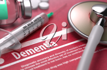 Dementia - Medical Concept on Red Background with Blurred Text and Composition of Pills, Syringe and Stethoscope.