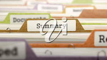 Summary - Folder Register Name in Directory. Colored, Blurred Image. Closeup View.