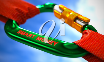 Green Carabiner between Red Ropes on Sky Background, Symbolizing the Smart Money. Selective Focus.