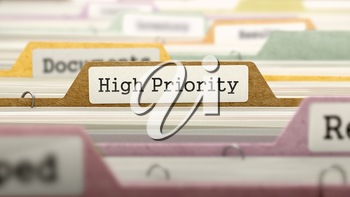 High Priority Concept on File Label in Multicolor Card Index. Closeup View. Selective Focus.
