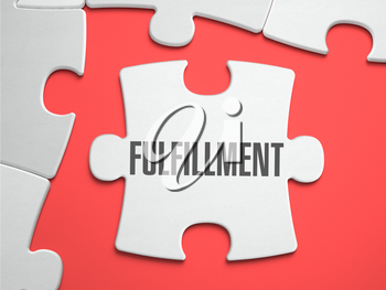 Fulfillment - Text on Puzzle on the Place of Missing Pieces. Scarlett Background. Close-up. 3d Illustration.