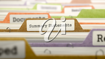 Summary Statements - Folder Register Name in Directory. Colored, Blurred Image. Closeup View.