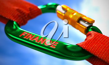 Green Carabiner between Red Ropes on Sky Background, Symbolizing the Finance. Selective Focus.