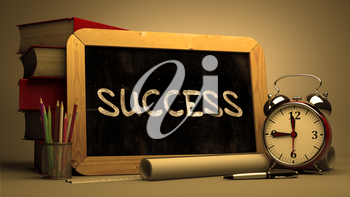 Success Handwritten on Chalkboard. Time Concept. Composition with Chalkboard and Stack of Books, Alarm Clock and Scrolls on Blurred Background. Toned Image.