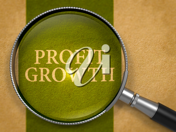 Profit Growth through Loupe on Old Paper with Dark Green Vertical Line Background.